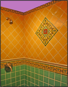 Bright bold shower with Mexican tile