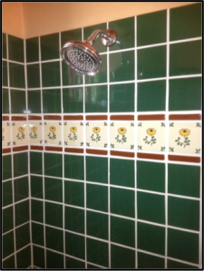 Shower Surround using decorative Mexican Tile